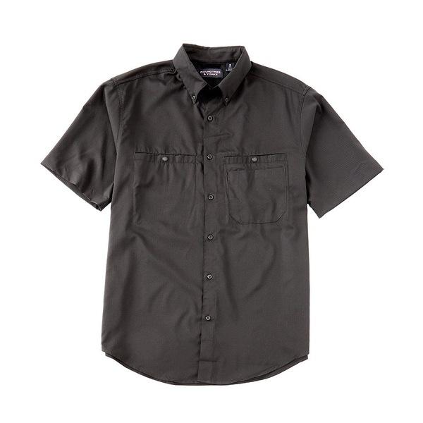 ランドツリーアンドヨーク メンズ シャツ トップス Performance Short-Sleeve Checked Capeback Sportshirt Black
