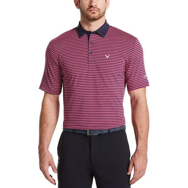 キャラウェイ メンズ シャツ トップス Short-Sleeve Cooling Tonal 3-Striped Polo Boudoir Red