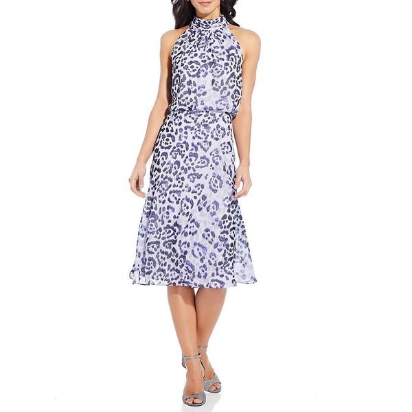 アドリアナ パペル レディース ワンピース トップス Watercolor Leopard Mock Neck Sleeveless Blouson Midi Dress Purple Multi