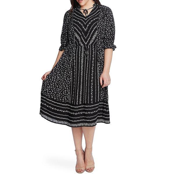 セセ レディース ワンピース トップス Plus Size 3/4 Sleeve Floral Print Tie Neck Midi Dress Rich Black