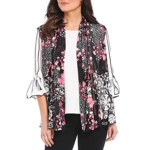 マルチプルズ レディース ジャケット&ブルゾン アウター Petite Size Floral Medallion Print Shawl Collar Hi-Low Open Front Embroidered Vest Multi