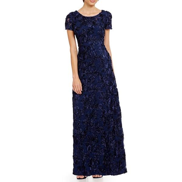 アレックスイブニングス レディース ワンピース トップス Sequined-Lace Rosette-Rose Gown Navy