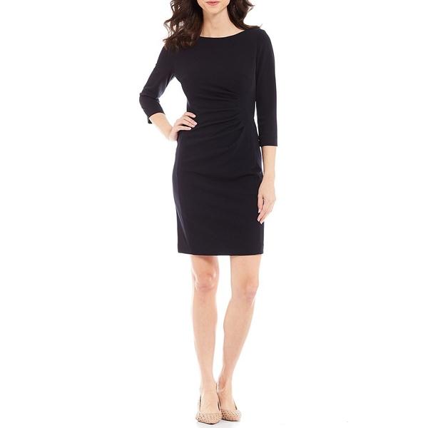プレストンアンドヨーク レディース ワンピース トップス Roselle Ruched Waist Detail Scuba Crepe 3/4 Sleeve Dress Black