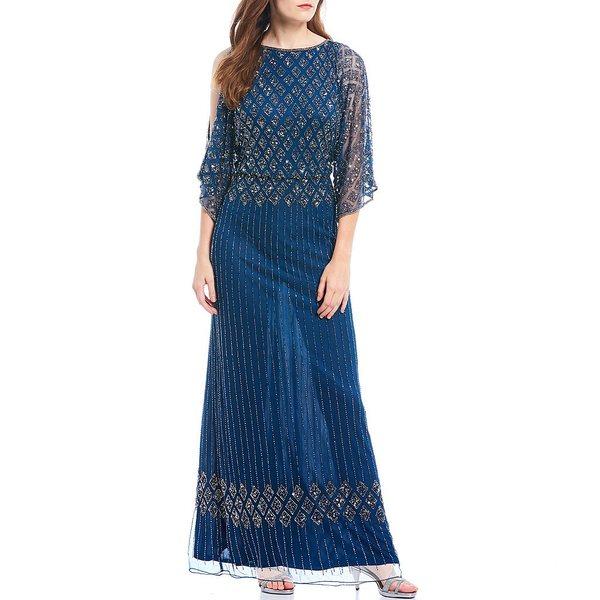 ピサッロナイツ レディース ワンピース トップス Petite Size Beaded Bodice Cold Shoulder Blouson Gown Petrol Blue