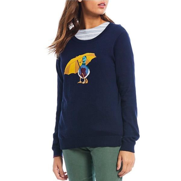 ジュールズ レディース ニット&セーター アウター Miranda Cotton Blend Duck Print Sweater Navy Duck