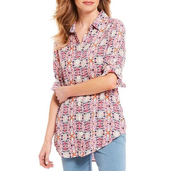 イントロ レディース シャツ トップス Petite Size Geometric Print Long Roll-Tab Sleeve Button Down Shirt Cabaret Geometric