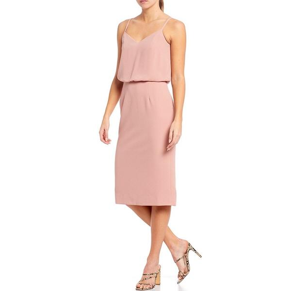 ドレスザポプレーション レディース ワンピース トップス Dress The Population Alondra V-Neck Sleeveless Blouson Midi Dress Blush
