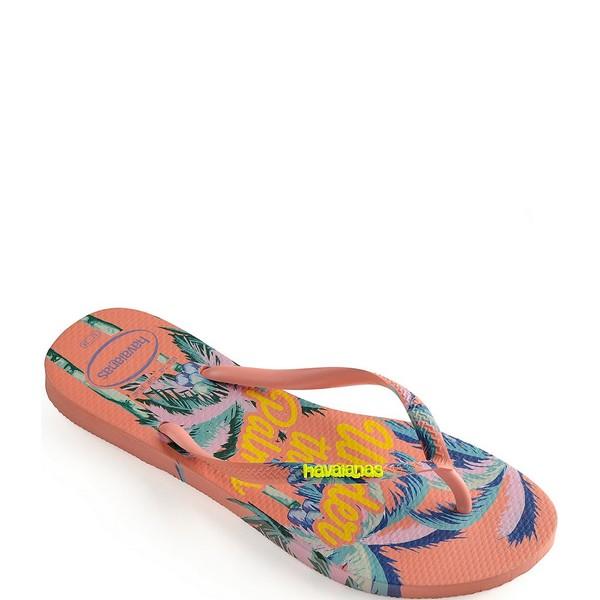ハワイアナス レディース サンダル シューズ Women's Slim Summer Palm Tree Flip Flops Silk Rose