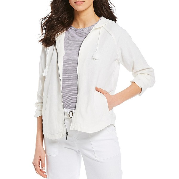 ウェストボンド レディース ジャケット&ブルゾン アウター Hooded Long Sleeve Zip Front Linen Jacket White