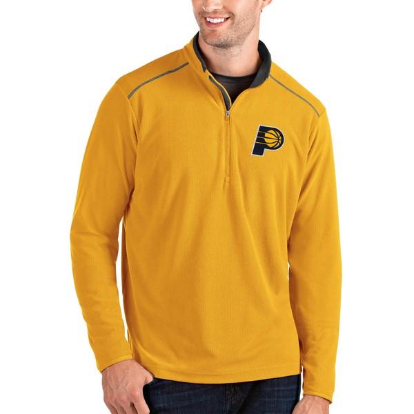 アンティグア メンズ ジャケット&ブルゾン アウター Indiana Pacers Antigua Glacier QuarterZip Pullover Jacket Gold/Gray
