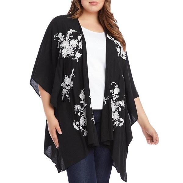 カレンケーン レディース ジャケット&ブルゾン アウター Plus Size 3/4 Sleeve Embroidered Kimono Black