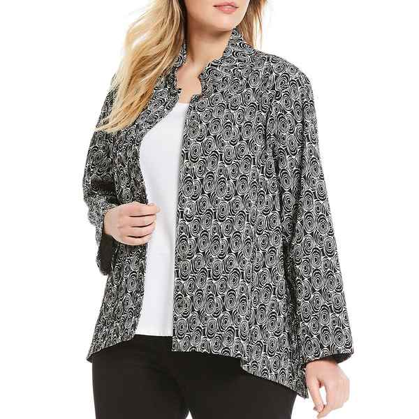アリ マイルス レディース ジャケット&ブルゾン アウター Plus Size Crinkle Floral Print Asymmetrical Button Front Jacket Black/White