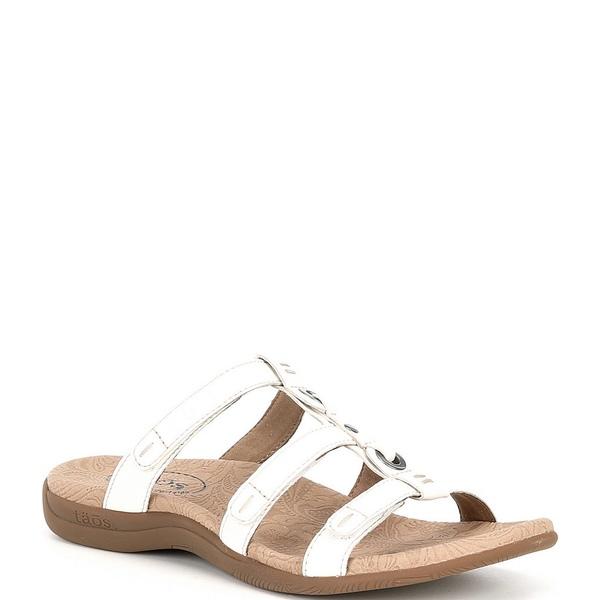 タオスフットウェア レディース サンダル シューズ Nifty Banded Leather Slide Sandals White