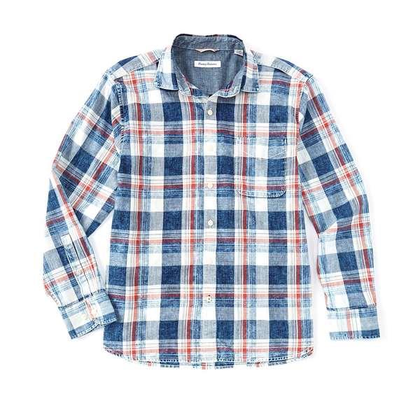 トッミーバハマ メンズ シャツ トップス Hazy Days Plaid Long-Sleeve Woven Shirt Indigo