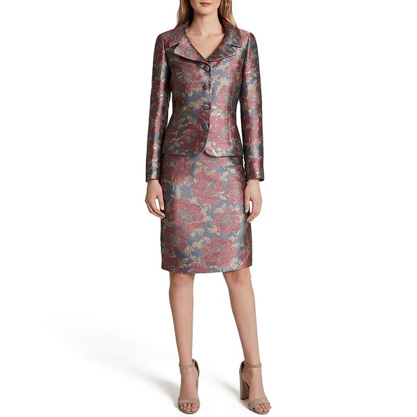 タハリエーエスエル レディース ワンピース トップス Long Sleeve Floral Metallic Jacquard Jacket 2-Piece Skirt Suit Grey Pink