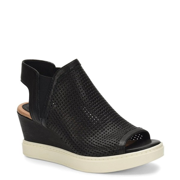 ソフト レディース サンダル シューズ Basima Perforated Leather Slip On Sporty Wedges Black