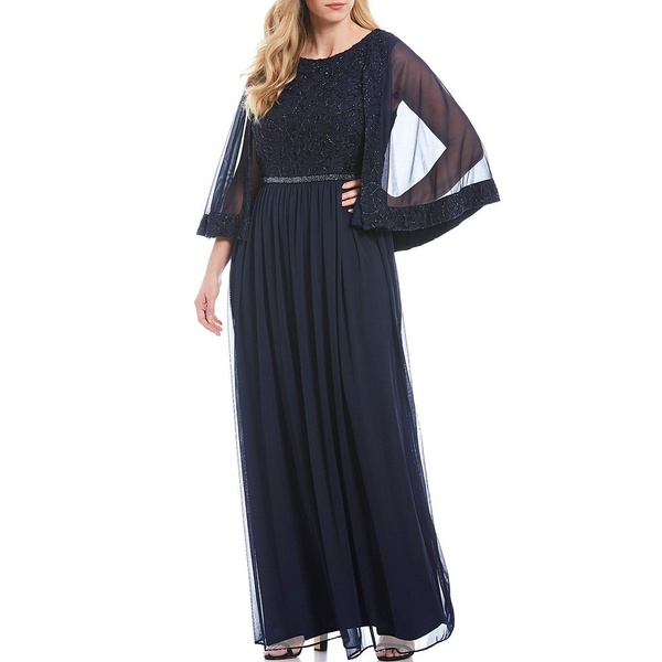 ロボス レディース ワンピース トップス Plus Size Embroidered Lace Capelet Gown Navy