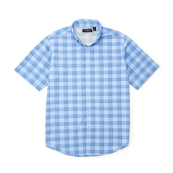 ランドツリーアンドヨーク メンズ シャツ トップス Performance Short-Sleeve Checked Capeback Sportshirt Light Blue