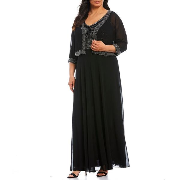ジェイカラ レディース ワンピース トップス Plus Size Beaded Bodice Chiffon Jacket Dress Black/Gunmetal/Mercury