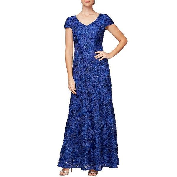 アレックスイブニングス レディース ワンピース トップス Petite Size Soutache Embroidered Lace Gown Royal