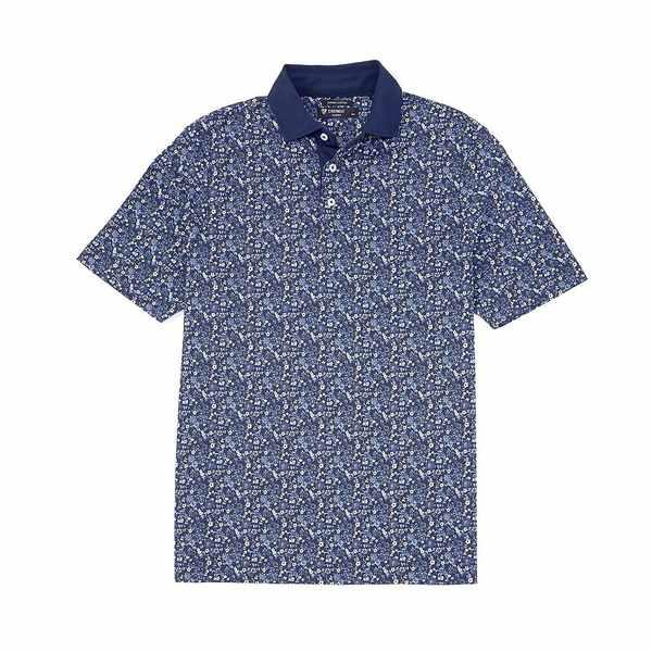 クレミュ メンズ ポロシャツ トップス Supima Cotton Printed Multi-Color Short-Sleeve Polo Shirt Blue