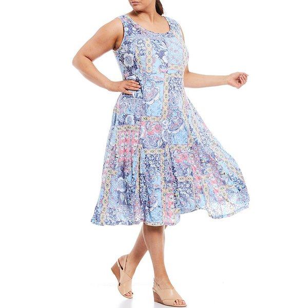 ルビーロード レディース ワンピース トップス Plus Size Entwined Garden Patchwork Print Burnout Scoop Neck Cotton Blend Dress Navy Multi