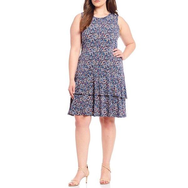 マイケルコース レディース ワンピース トップス MICHAEL Michael Kors Plus Size Dainty Bloom Print Lux Matte Jersey Tiered Flounce A-Line Sleeveless Dress Coral Peach