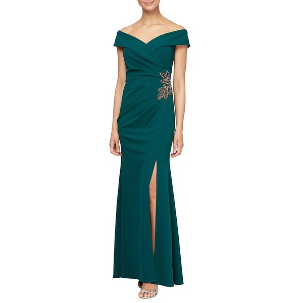 アレックスイブニングス レディース ワンピース トップス Petite Size Off-the-Shoulder Sweetheart Neck Embellished Waist Crepe Front Slit Gown Emerald Green