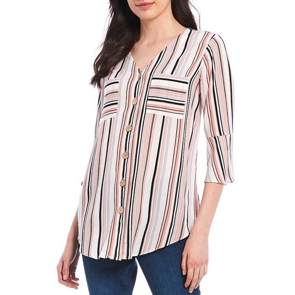 アイエヌスタジオ レディース シャツ トップス Petite Size Stripe V-Neck Button Front 3/4 Sleeve Top Coral Variegated Stripe