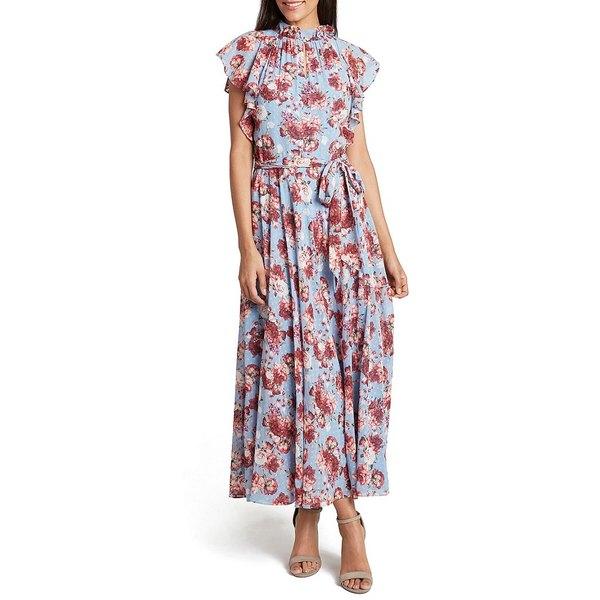 タハリエーエスエル レディース ワンピース トップス Ruffle Mock Neck Clip Dot Floral Print Chiffon Maxi Dress Blue Pink Floral