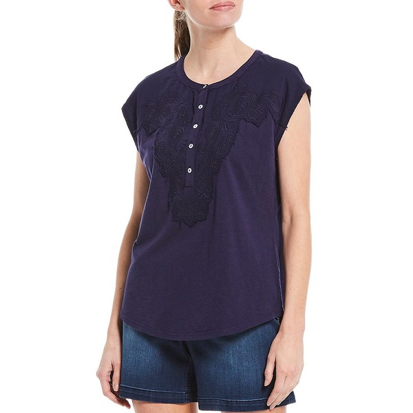 ウェストボンド レディース Tシャツ トップス Petite Size Cap Sleeve Mix Media Embroidered Tee Evening Blue