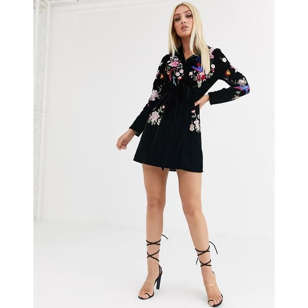 エイソス レディース ワンピース トップス ASOS DESIGN velvet embroidered tux mini dress Black
