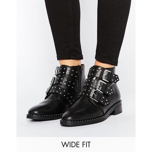 エイソス レディース ブーツ&レインブーツ シューズ ASOS ASHER Wide Fit Leather Studded Ankle Boots Black
