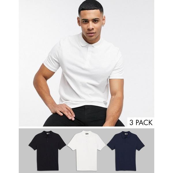 エイソス メンズ ポロシャツ トップス ASOS DESIGN organic jersey polo 3 pack multipack save Black/white/navy