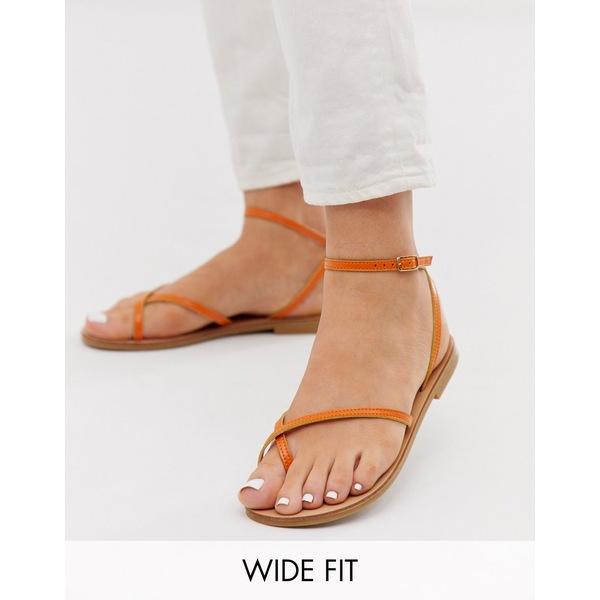 エイソス レディース サンダル シューズ ASOS DESIGN Wide Fit Freefall minimal toe loop flat sandals in orange Orange