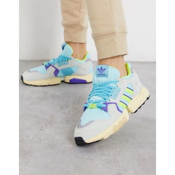 アディダスオリジナルス メンズ スニーカー シューズ adidas Originals ZX Torsion sneakers with neon 3 stripes Bl1 - blue 1