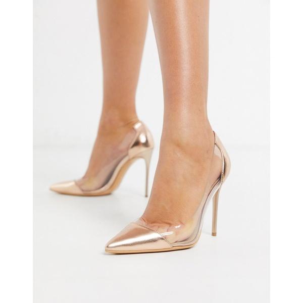 トゥラッフル レディース ヒール シューズ Truffle Collection clear stiletto heeled shoes in rose gold Rose gold