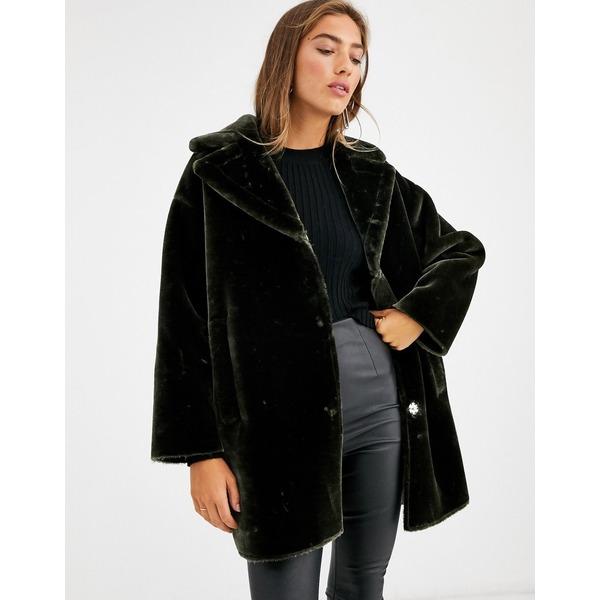 エイソス レディース コート アウター ASOS DESIGN plush faux fur bonded overcoat in khaki Khaki