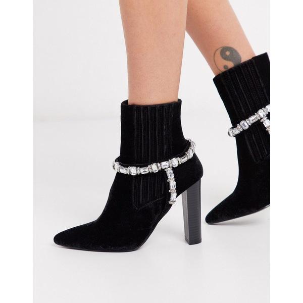 エイソス レディース ブーツ&レインブーツ シューズ ASOS DESIGN Emerson embellished western boots in black velvet Black velvet