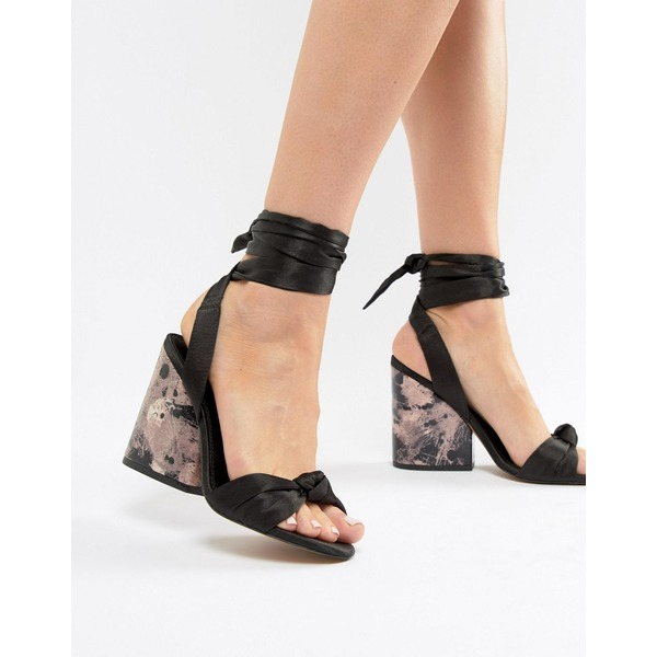 エイソス レディース サンダル シューズ ASOS DESIGN Hazy Knotted Heeled Sandals Black satin