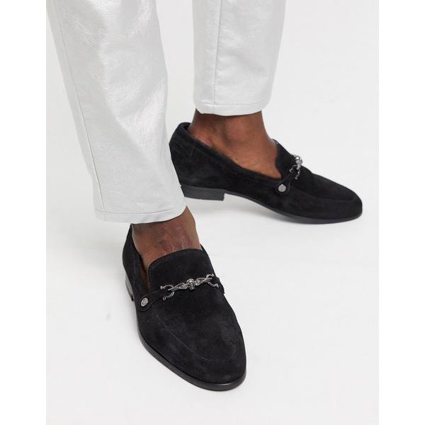 ツイステッドテイラー メンズ スリッポン・ローファー シューズ Twisted Tailor suede loafer with silver buckle in black Black