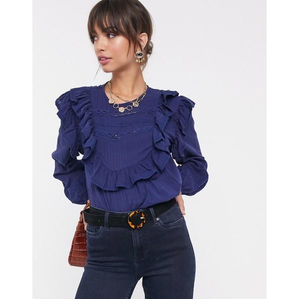 エイソス レディース シャツ トップス ASOS DESIGN long sleeve top with ruffle and lace insert Blue