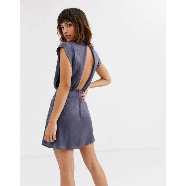 エイソス レディース トップス ワンピース Dark gray 全商品無料サイズ交換 エイソス レディース ワンピース トップス ASOS DESIGN high neck embroidered mini dress in satin Dark gray