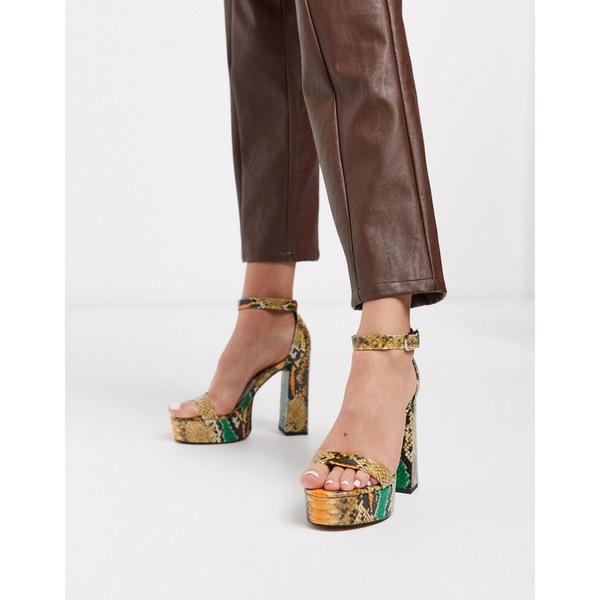 エイソス レディース サンダル シューズ ASOS DESIGN Noon platform block heeled sandals in snake Snake