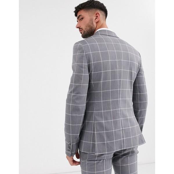 エイソス メンズ ジャケット&ブルゾン アウター ASOS DESIGN super skinny suit jacket in light gray windowpane check Gray