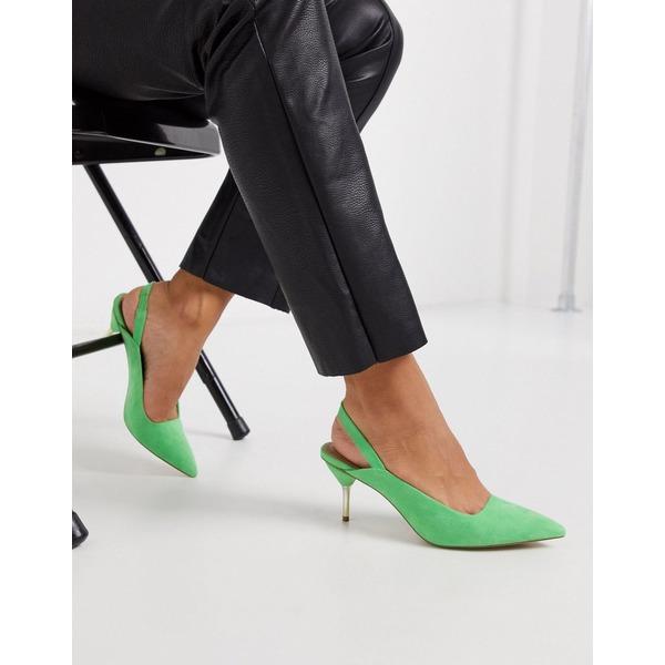 エイソス レディース ヒール シューズ ASOS DESIGN Sascha slingback kitten heels in green Green