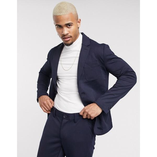 オンリーアンドサンズ メンズ ジャケット&ブルゾン アウター Only & Sons relaxed jersey suit jacket in navy Night sky
