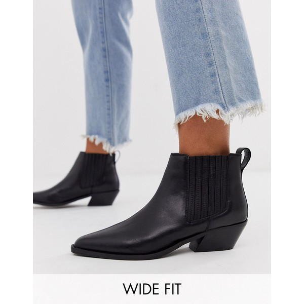 エイソス レディース ブーツ&レインブーツ シューズ ASOS DESIGN Wide Fit Adelaide leather western chelsea boots in black Black leather