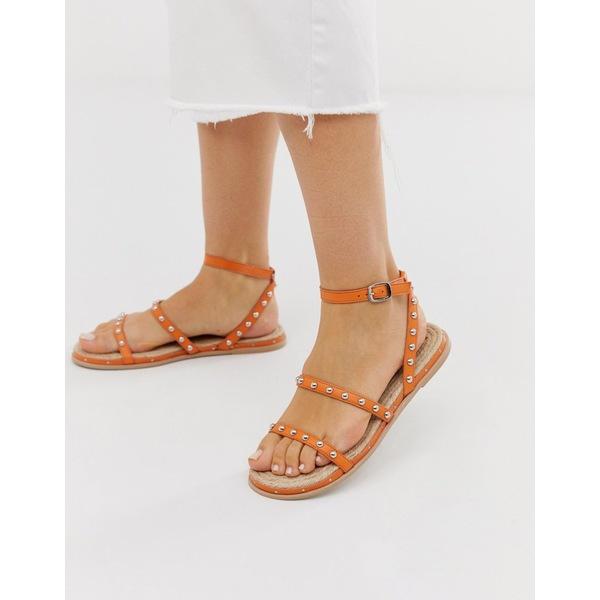 エイソス レディース サンダル シューズ ASOS DESIGN Juliette premium leather studded espadrilles in orange Orange