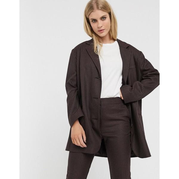 エイソス レディース ジャケット&ブルゾン アウター ASOS DESIGN extreme dad suit blazer in dark check Check